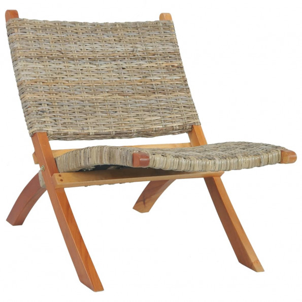 Afslapningsstol naturlig kubu-rattan massivt mahognitræ