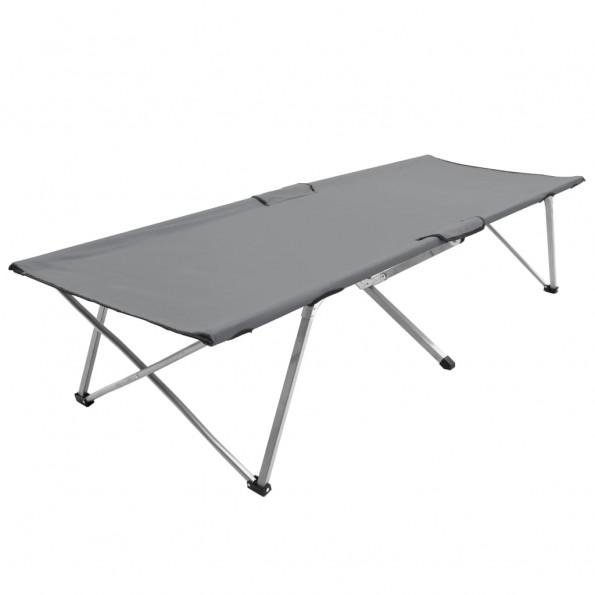 Campingseng 206 x 75 x 45 cm XXL grå