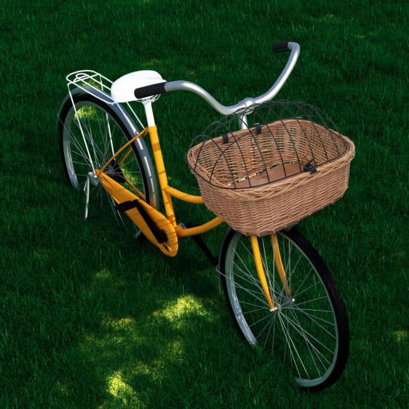 Cykelkurv med dæksel 50x45x35 cm naturlig piletræ