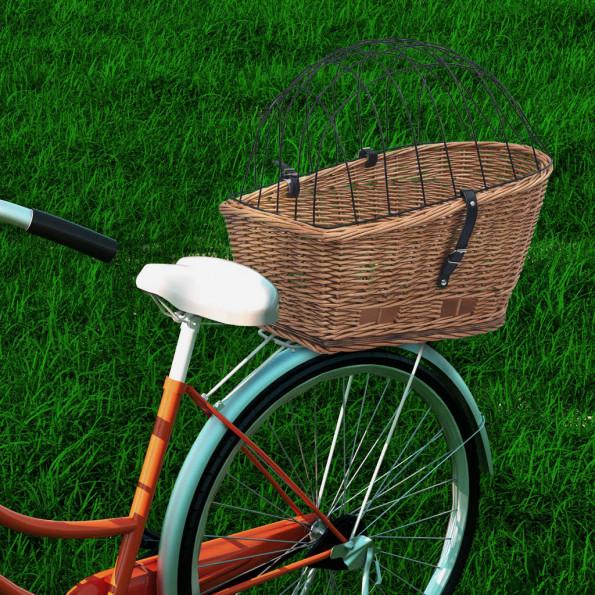 Cykelkurv til bagagebærer med låg 55x31x36 cm naturlig pil