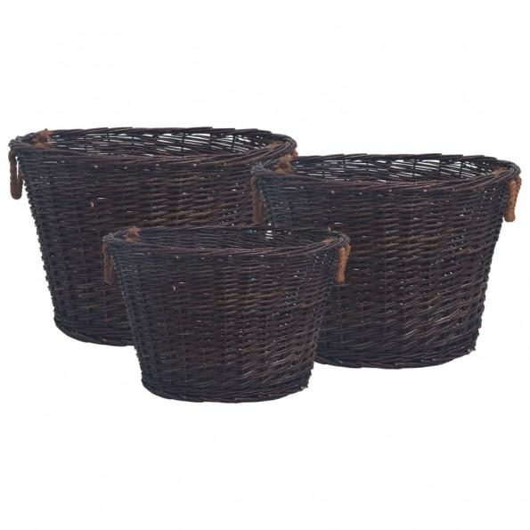 Brændekurv 3 stk. stabelbar pil mørkebrun