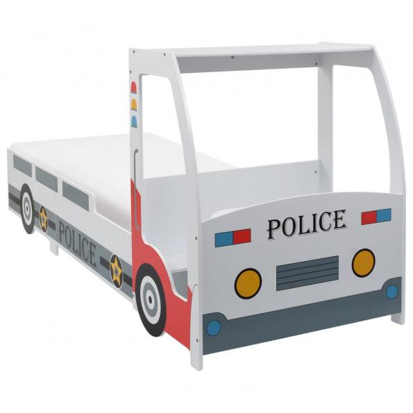 Børneseng politibil med madras 90 x 200 cm 7 zoner H2 H3