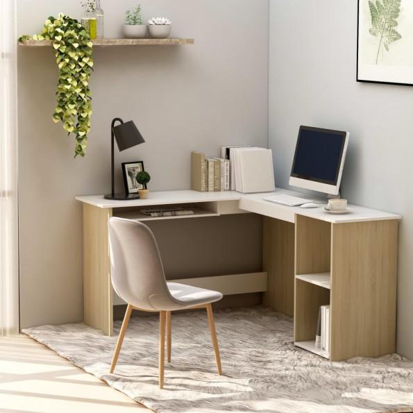 Hjørneskrivebord 120x140x75 cm L-form spånplade hvid sonoma-eg