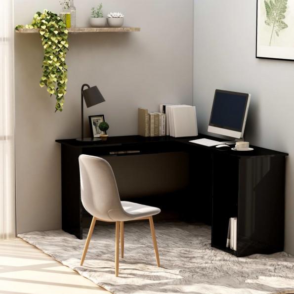 Hjørneskrivebord 120 x 140 x 75 cm spånplade sort højglans