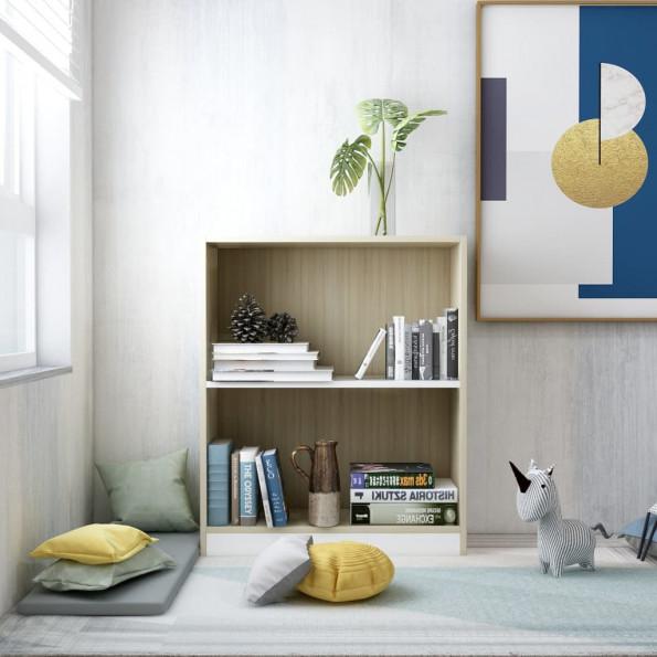 Bogreol 60 x 24 x 74,5 cm spånplade hvid og sonoma-eg