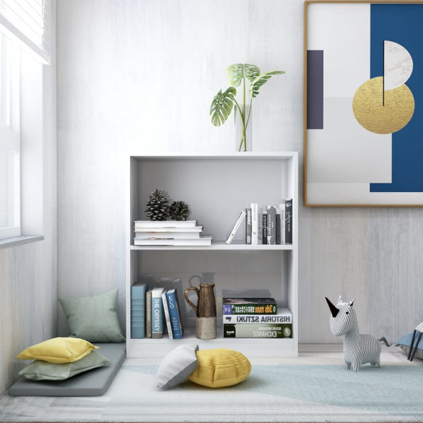 Bogreol 60 x 24 x 74,5 cm spånplade hvid højglans