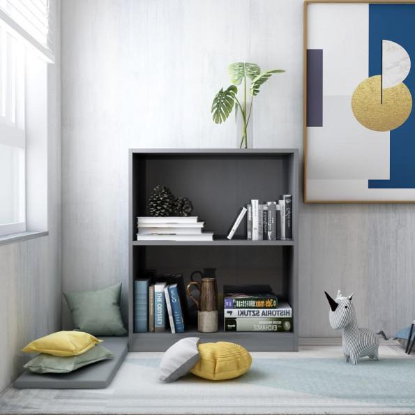 Bogreol 60 x 24 x 74,5 cm spånplade grå højglans