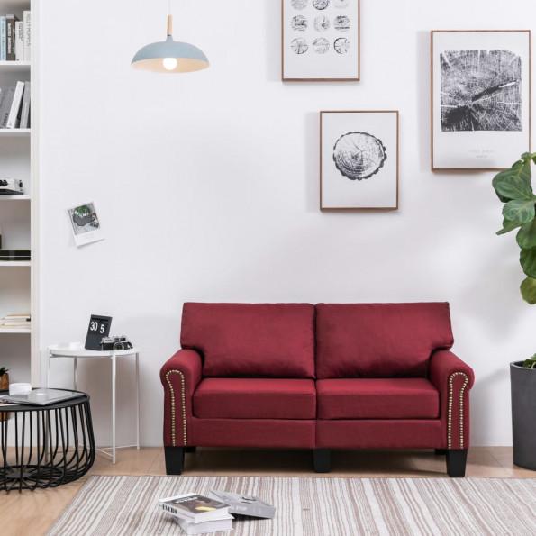 2-personers sofa stof vinrød