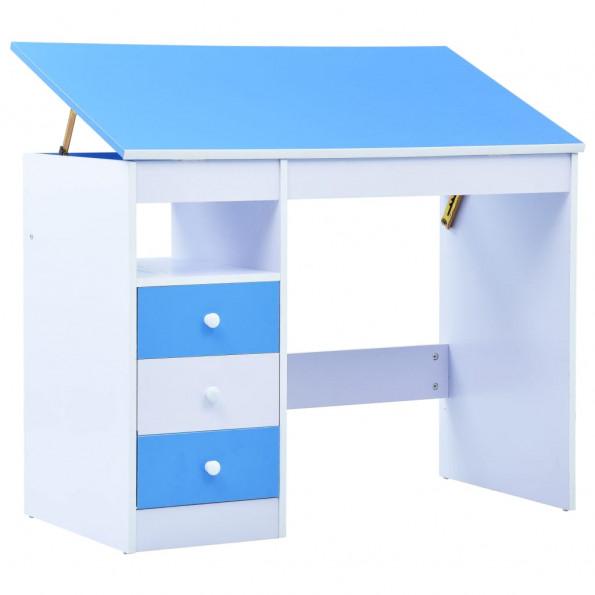 Børneskrivebord vipbart blå og hvid