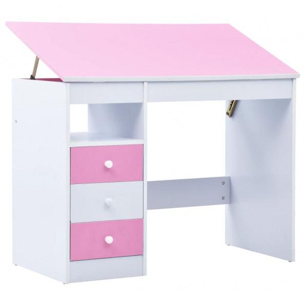 Børneskrivebord vippebart lyserød og hvid