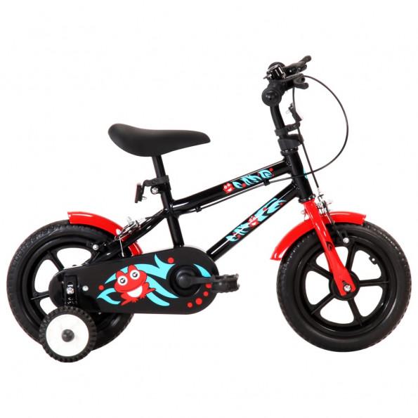 Børnecykel 12 tommer sort og rød