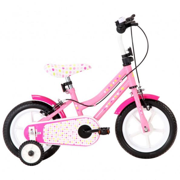 Børnecykel 12 tommer hvid og pink