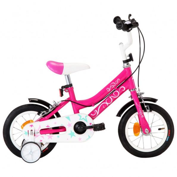 Børnecykel 12 tommer sort og pink