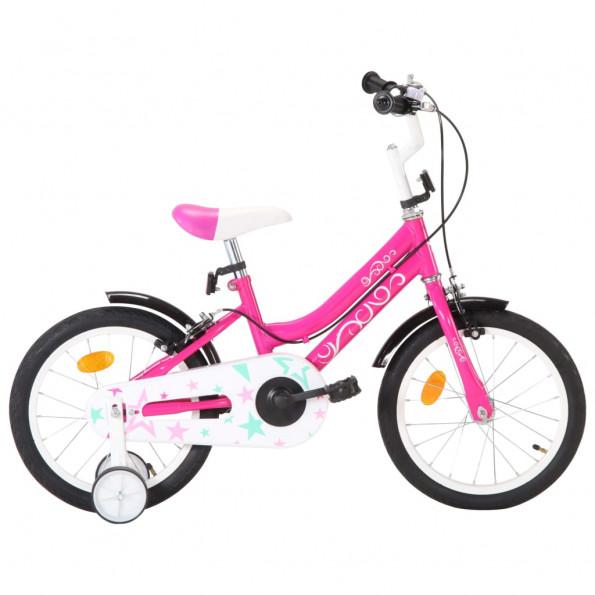Børnecykel 16 tommer sort og pink