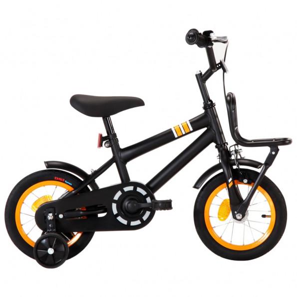 Børnecykel med frontlad 12 tommer sort og orange