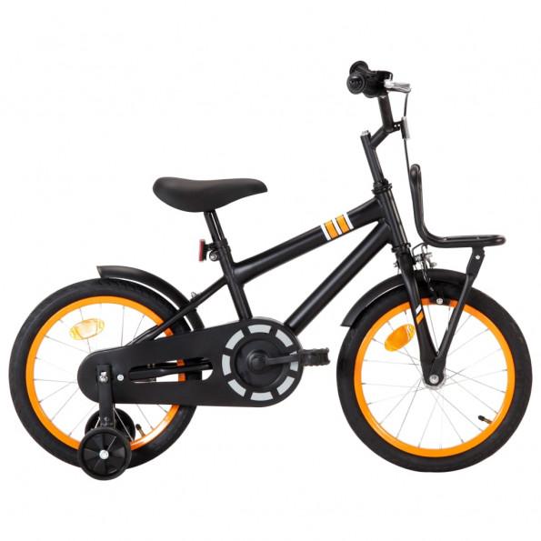 Børnecykel med frontlad 16 tommer sort og orange