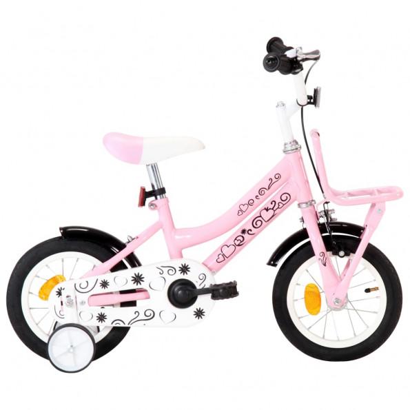 Børnecykel med frontlad 12 tommer hvid og pink