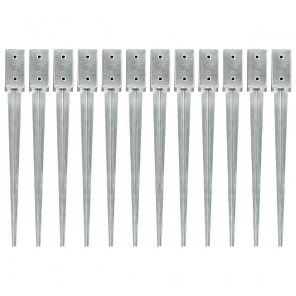 Jordpløkker 12 stk. 7 x 7 x 75 cm galvaniseret stål sølvfarvet
