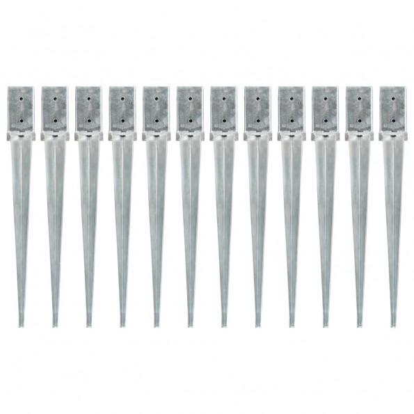Jordpløkker 12 stk. 8 x 8 x 76 cm galvaniseret stål sølvfarvet