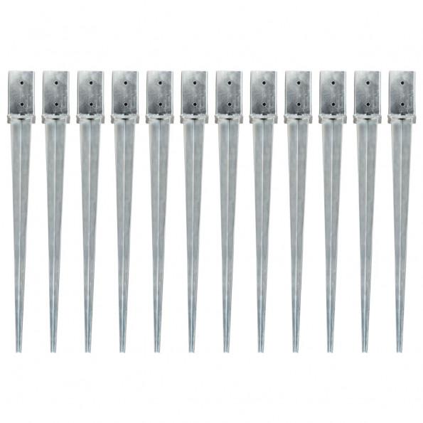 Jordpløkker 12 stk. 8 x 8 x 91 cm galvaniseret stål sølvfarvet