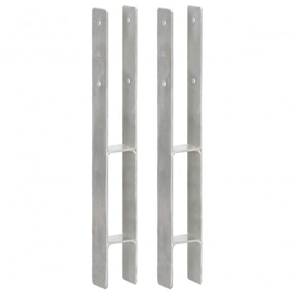 Hegnspløkker 2 stk. 7x6x60 cm galvaniseret stål sølvfarvet