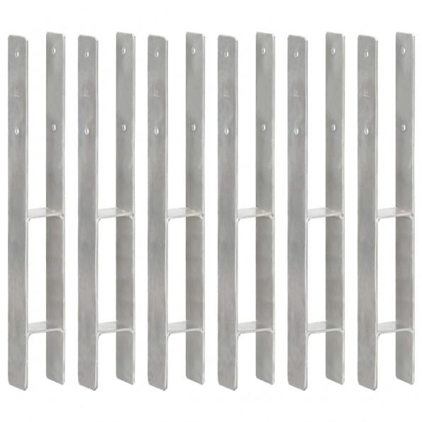 Hegnspløkker 6 stk. 7x6x60 cm galvaniseret stål sølvfarvet