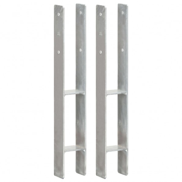 Hegnspløkker 2 stk. 8x6x60 cm galvaniseret stål sølvfarvet