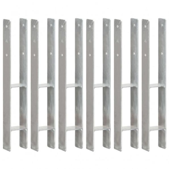 Hegnspløkker 6 stk. 8x6x60 cm galvaniseret stål sølvfarvet