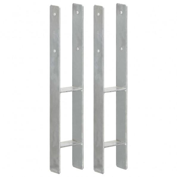 Hegnspløkker 2 stk. 9x6x60 cm galvaniseret stål sølvfarvet