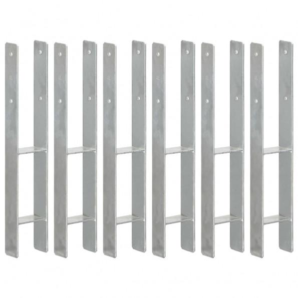Hegnspløkker 6 stk. 9x6x60 cm galvaniseret stål sølvfarvet