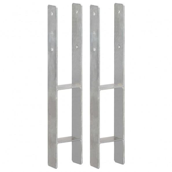 Hegnspløkker 2 stk. 10x6x60 cm galvaniseret stål sølvfarvet