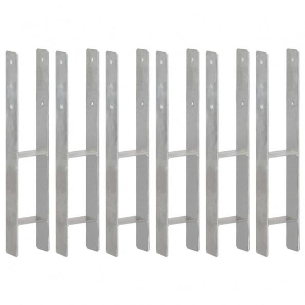 Hegnspløkker 6 stk. 10x6x60 cm galvaniseret stål sølvfarvet