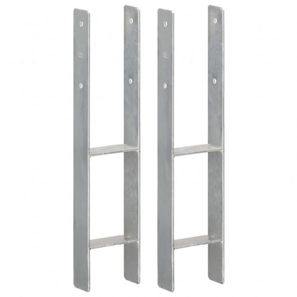 Hegnspløkker 2 stk. 12x6x60 cm galvaniseret stål sølvfarvet