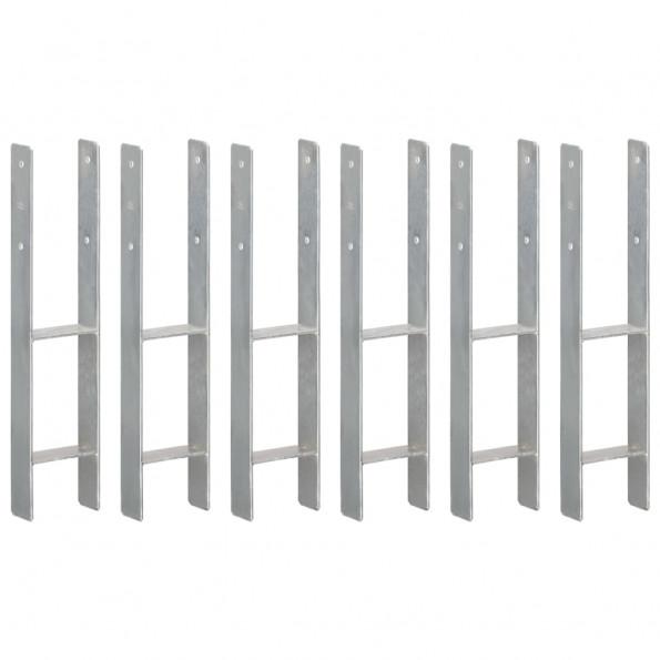 Hegnspløkker 6 stk. 12x6x60 cm galvaniseret stål sølvfarvet
