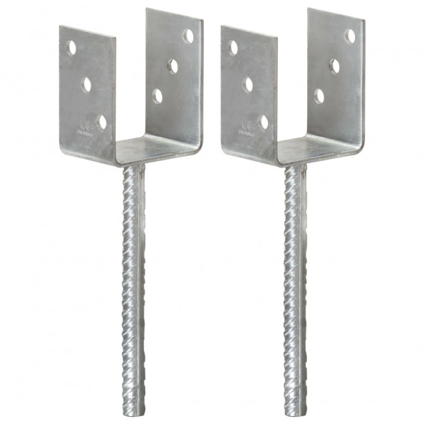 Hegnspløkker 2 stk. 8x6x30 cm galvaniseret stål sølvfarvet