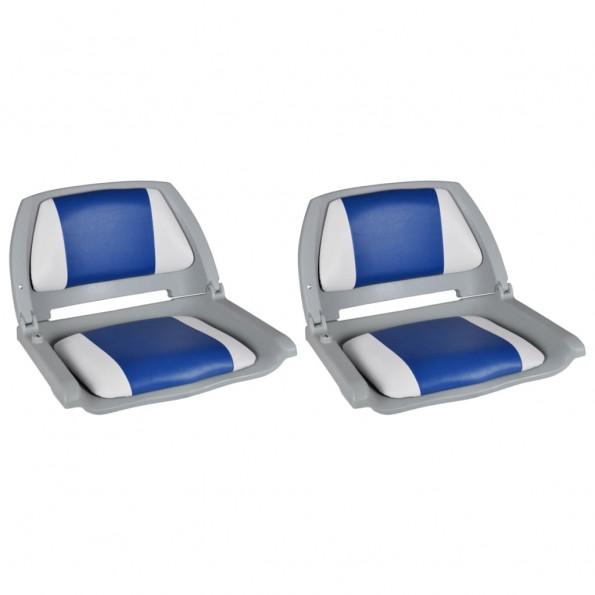 Bådsæder 2 stk. foldbart ryglæn m. blå/hvid pude 41x51x48 cm