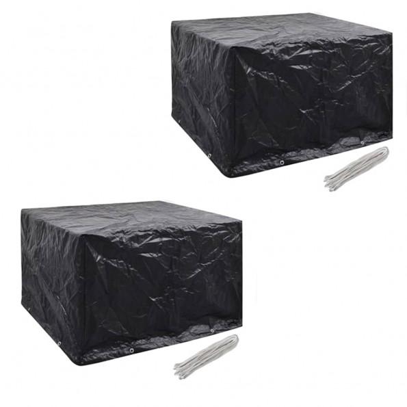 Møbelovertræk 2 stk. 4 pers. polyrattansæt 8 huller 113x113 cm