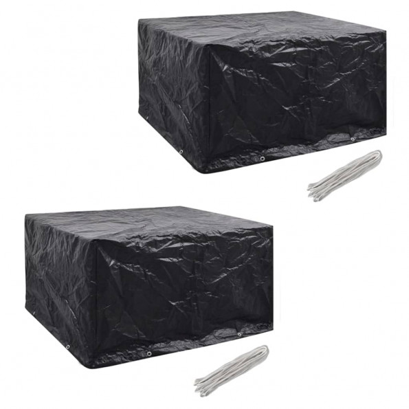 Møbelovertræk 2 stk. 6 pers. polyrattansæt 8 huller 172x113 cm