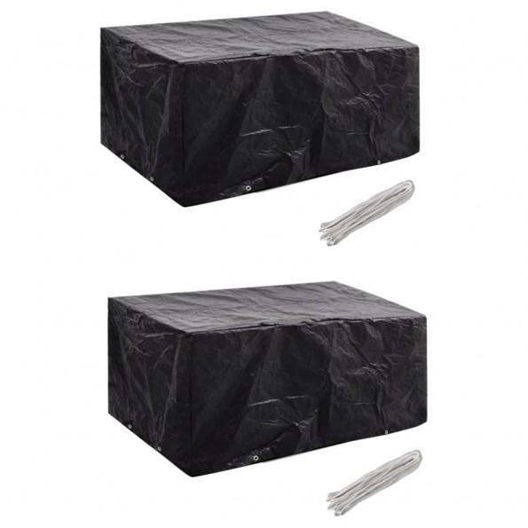 Møbelovertræk 2 stk. 4 pers. polyrattansæt 8 huller 180x140 cm