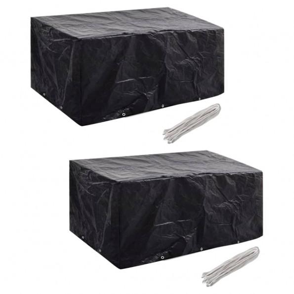Møbelovertræk 2 stk. 6 pers. polyrattansæt 10 huller 240x140 cm