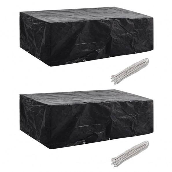 Møbelovertræk 2 stk. 8 pers. polyrattansæt 10 huller 300x140 cm