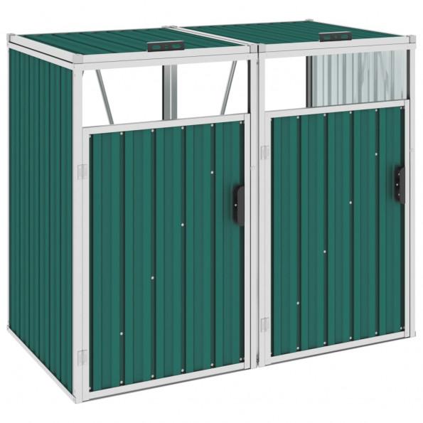 Dobbelt skraldespandsskur 143x81x121 cm stål grøn