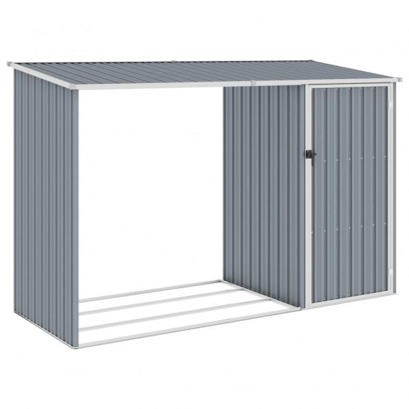 Brændeskur 245x98x159 cm galvaniseret stål grå