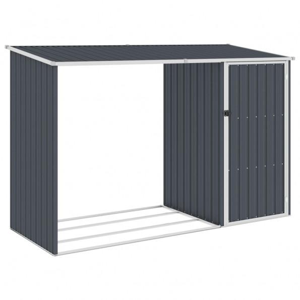 Brændeskur 245x98x159 cm galvaniseret stål antracitgrå