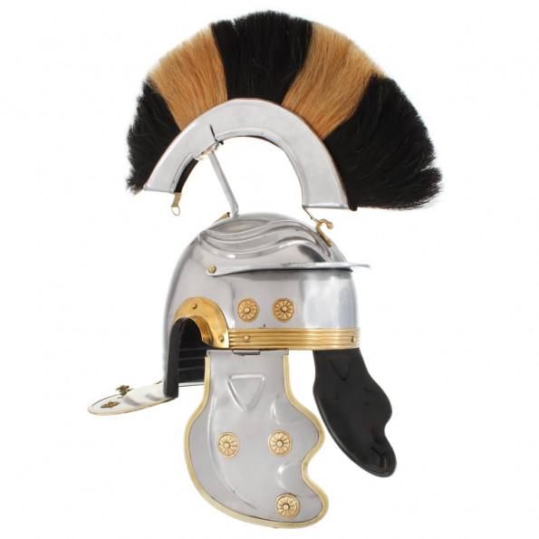 Romersk soldaterhjelm til rollespil antik stål sølvfarvet
