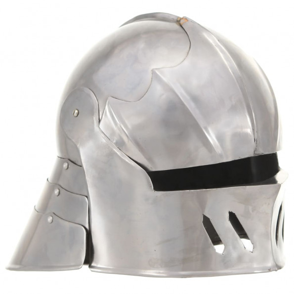 Middelalderlig ridderhjelm til rollespil antik stål sølvfarvet