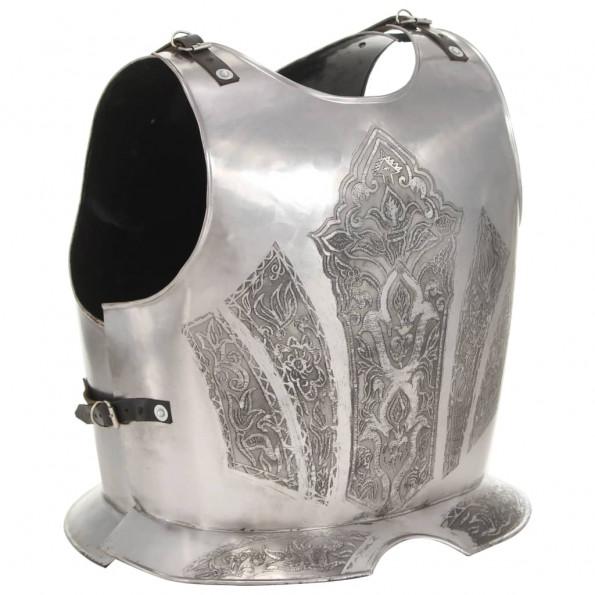 Middelalderlig krigerharnisk til rollespil stål sølvfarvet