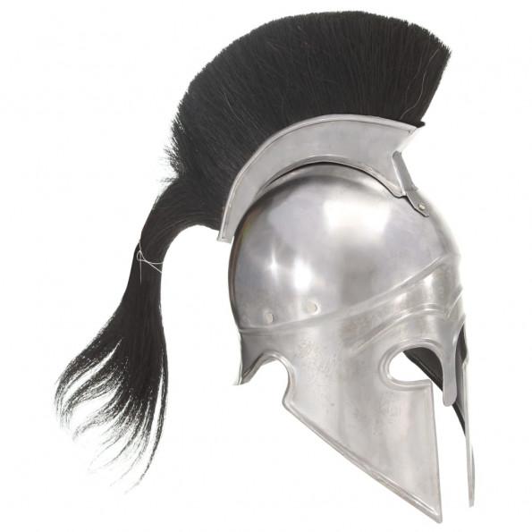 Græsk krigshjelm til rollespil antik stål sølvfarvet