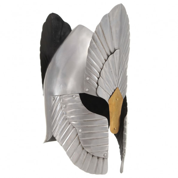 Middelalderlig ridderhjelm til rollespil stål sølvfarvet