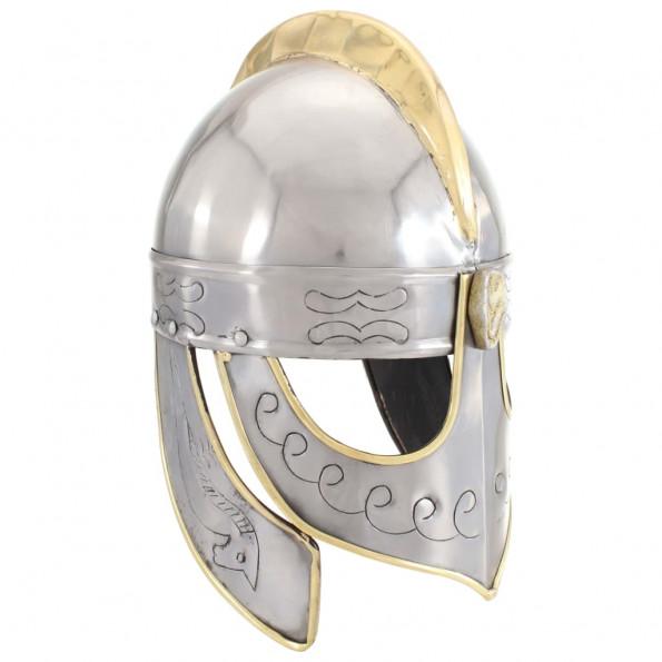 Beowulfhjelm til rollespil antik stål sølvfarvet